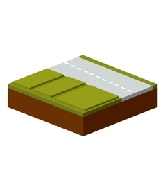 Grass and road isometric icon vector