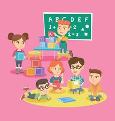 Group of children with teacher in kindergarten vector