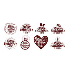 happy valentines day label set holiday icon or vector image vector image