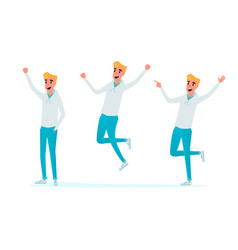 happy young man jumping celebrate in various pose vector image vector image