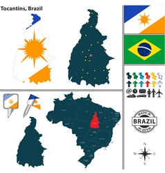 Map of tocantins vector