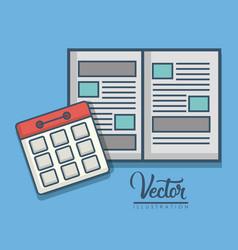 Notebook and calendar icon vector
