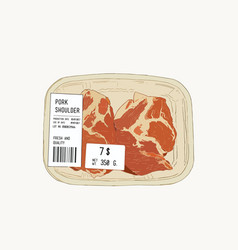 raw pork shoulder in pack sketch vector image vector image