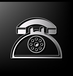 Retro telephone sign gray 3d printed icon vector