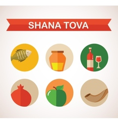 Six icons for rosh hashana jewish holiday happy vector