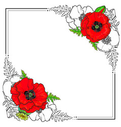 square frame decorated with poppy flowers vector image vector image