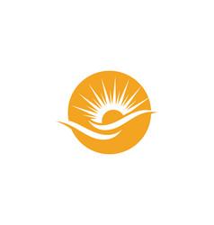 Sun over horizon logo template vector