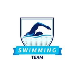 swimming team logo swimmer silhouette in vector image