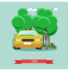taxi and passenger in flat vector image vector image