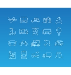Transport mono line icon set vector