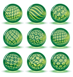 Green glossy spheres set vector