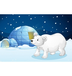White bear and igloo vector