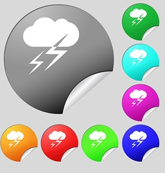 Weather icon sign Set of eight multi colored round vector image