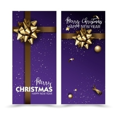 Greeting cards with golden bows and copy space vector