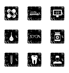 Healing icons set grunge style vector image