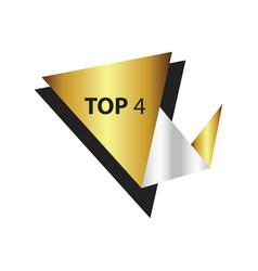 Top4 text in label gold silver vector