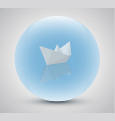 Paper boat in a magic sphere vector