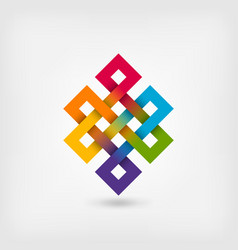 Shrivatsa endless knot in rainbow colors vector