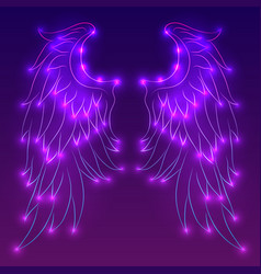 Neon of angel wings with sparks vector