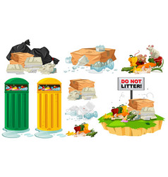 Rubbish on the floor and trashcans vector