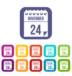 24 november calendar icons set vector image