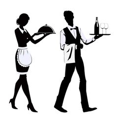 Silhouette waiters vector