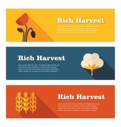 Rich harvest flat banners set vector