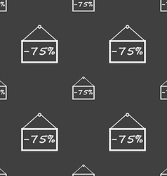 75 discount icon sign seamless pattern on a gray vector