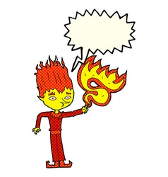 Fire spirit cartoon with speech bubble vector