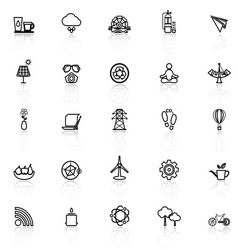 Clean concept line icons with reflect on white vector