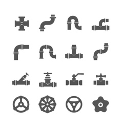 Valve taps pipe connectors details icons vector
