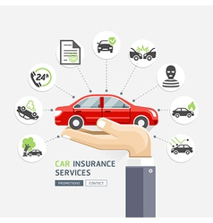 Car insurance services business hands holding car vector