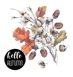 Autumn vintage cotton flower vector