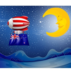 A floating balloon with the new zealand flag vector