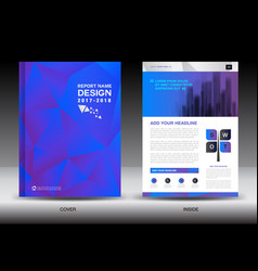 Annual report brochure flyer template blue cover vector