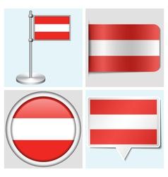 Austria flag - sticker button label flagstaff vector image vector image
