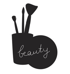 beauty inscription on black silhouette isolated vector image vector image