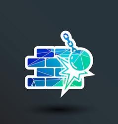 Break the wall icon button logo symbol vector