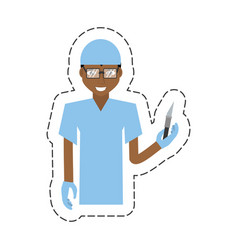 Cartoon afro american man surgeon scalpe vector