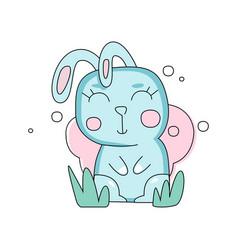 cartoon portrait bunny of blue bunny on green vector image vector image