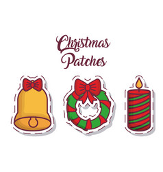 christmas patches design vector image