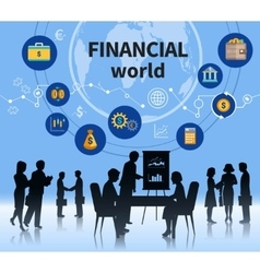 Financial business world concept composition vector