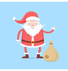 Funny cartoon santa claus in red coat and hat vector