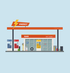 gas station cartoon flat vector image