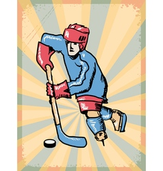 Grunge background with hockey player vector