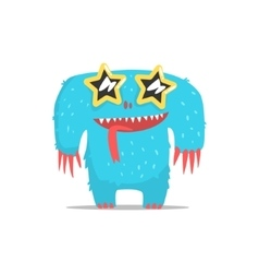 Happy blue furry giant monster in star shaped dark vector