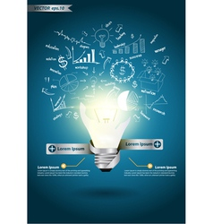idea light bulb broken With drawing business plan vector image vector image