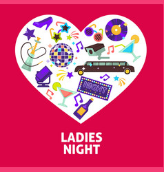Ladies night party heart poster vector