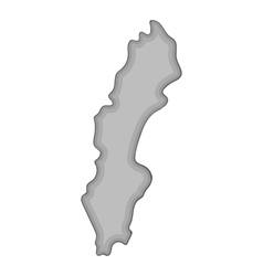 Map of Sweden icon gray monochrome style vector image vector image
