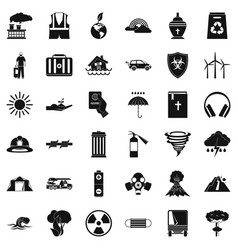 natural disaster icons set simple style vector image vector image